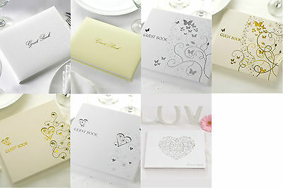 Wedding guest book contemporary vintage heart butterflies ivory or white