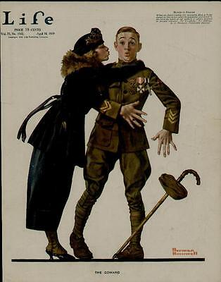 """1919 Life Magazine Cover / """"the Coward"""" Cute Scene... - Artists: Norman Rockwell"""