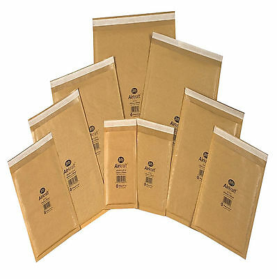 10 x Small sized GENUINE Jiffy bags, bubble-lined, padded envelopes JL000 gold