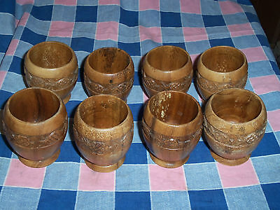Eight Footed Cups Glasses Pineapple Motif 3 3/16 Inches High  Note Surface Wear