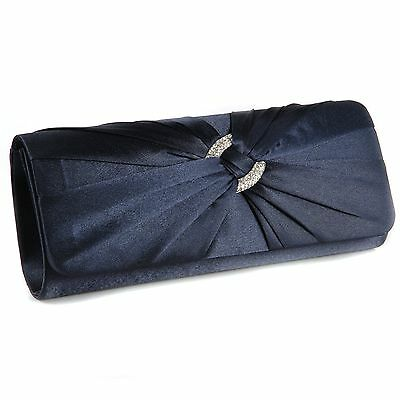 Navy Blue Satin Diamante Pleated Evening Clutch Bag Bridal Wedding Party Prom