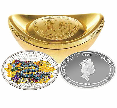 Niue 2013 $2 LUNAR YEAR OF THE SNAKE  Oval Colored 1 oz Proof Silver Coin