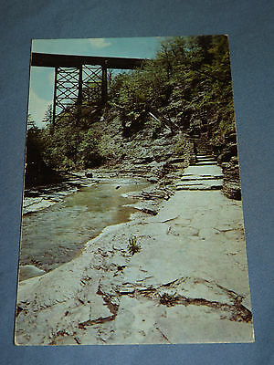 Vintage 1954 Central Railroad Bridge  Watkins Glen New York   Postcard