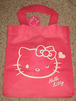 COOL!! HELLO KITTY PINK REUSEABLE TOTE BAG LICENSED PRODUCT BRAND NEW!!