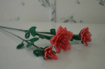 NEW 3 handmade French beaded Flowers watermelon pink rose roses