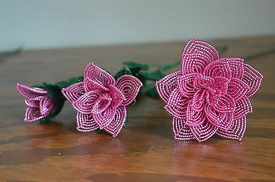 3 handmade French beaded Flowers dusty rose pink rose roses
