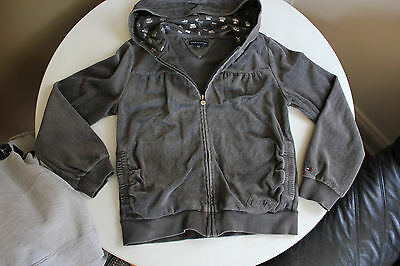 TOMMY HILFIGER*Girls Size Large*Grey Velour Hoodie*Front Zipper*