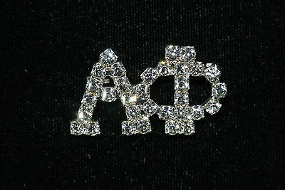 Large 'Alpha Phi' CLEAR Austrian Crystal Sorority/Greek Pin- Officially Licensed