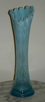 "Jefferson 12"" tall Heatherbloom Blue Opalescent swung Vase"