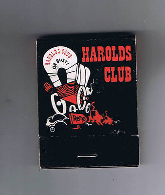 Harolds Club Or Bust Win More Play Longer Vintage Covered Wagon Matchbook Reno