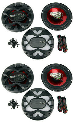 "4) New BOSS CH6530 6.5"" 3-Way 600W Car Audio Coaxial Speakers Stereo Red"