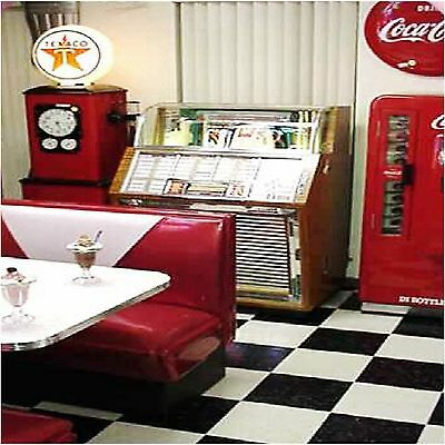 Retro 50S Diner Design 1   Coasters Set Of 4 Fabric Top / Rubber Backed