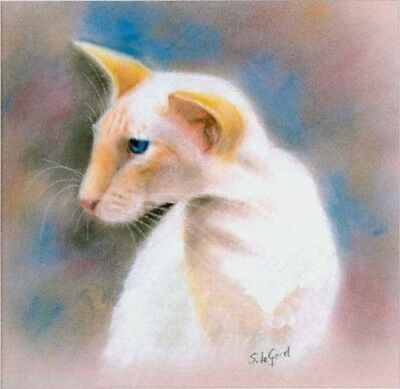 Large Ltd Ed Redpoint Siamese Cat Print From Original Painting Suzanne Le Good