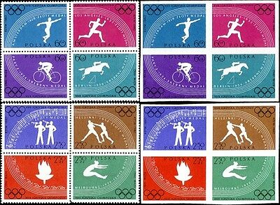 Four Rome 1960 Olympics Blocks Of 4 Perf & Imperf Stamps Poland 917a; 921a MNH