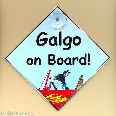 Galgo dog art sign on board Spanish greyhound from painting by Suzanne Le Good