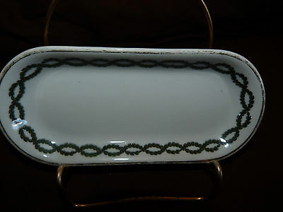 Vintage Shenango Green Leaf Pattern Open Butter Dish or Soap Dish with Gold Trim