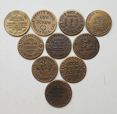 10 Solid Brass Brothel - Cat House Tokens Lot - 2
