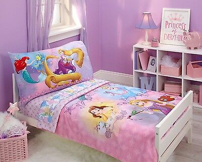 4pc Disney Princess Toddler COMFORTER + SHEETS Set Girls Room Crib Bed in a Bag