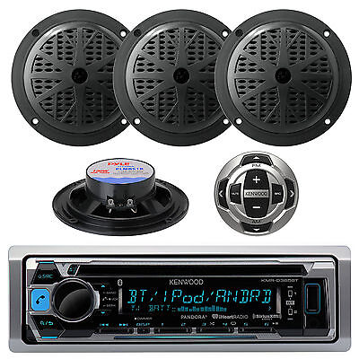 Kenwood Boat CD MP3 Radio Smartphone Receiver  W/ Wired Remote & 4 x Speakers
