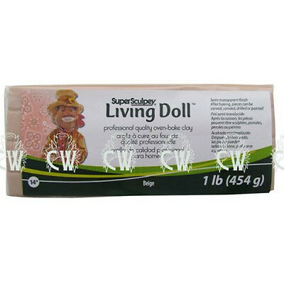 Super Sculpey Living Doll Clay BEIGE Polymer Oven Bake Modelling Clay 454g