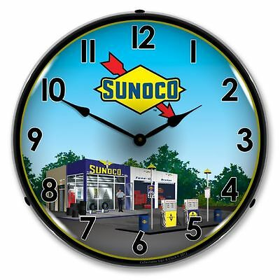 New Sunoco Station 2 Retro Advertising Backlit Lighted Clock - Free Shipping*