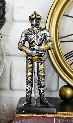 "Doll House Miniature 4"" Medieval Knight Long Swordsman Statue Suit Of Armor"