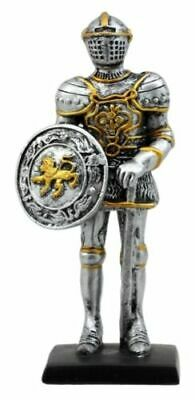 "Doll House Miniature 4"" Medieval Lion Knight Of Valor Statue Suit Of Armor"