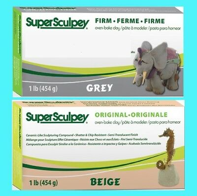 Super Sculpey BEIGE & FIRM GREY 1lb 454g BLOCKS Polymer Modelling Clay Sculpting