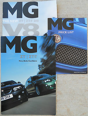MG ZT, ZTT AND 260 V8 Showroom brochures & UK price list all three 2004