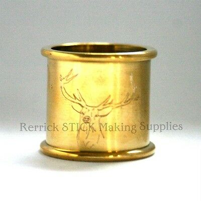BEADED BRASS COLLAR 25mm FOR WALKING STICK STAG ENGRAVED