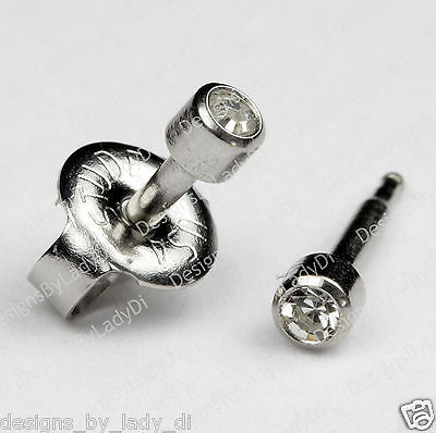 SHORT POST Baby Studs Stainless Clear Gem Ear Piercing Earrings Studex System 75
