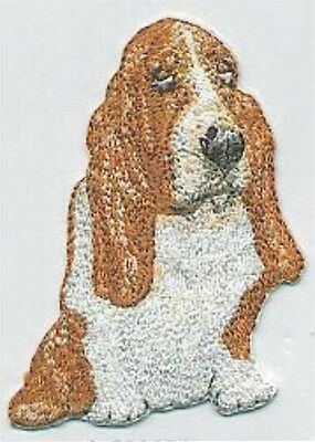 """3"""" Brown White Basset Hound Dog Breed Embroidery Applique Patch"""