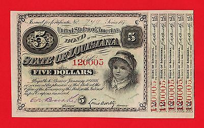 """1879 State of Louisiana $5 """"BABY BOND""""!  Uncirculated STATE CURRENCY from BAYOU!"""