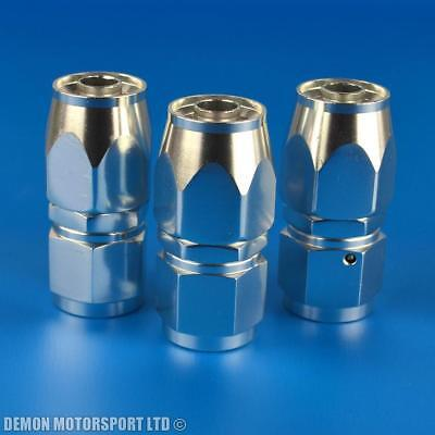 8AN -8 (AN8) Straight Polished / Silver Braided Hose Fitting (3 Pack)