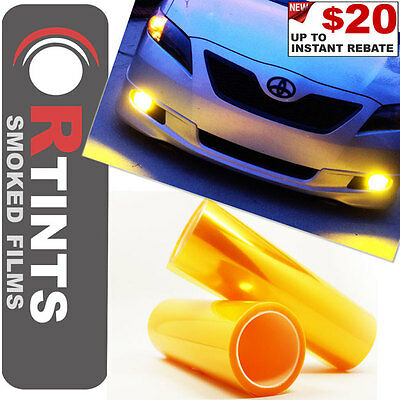 """Pro 48""""x12"""" Yellow Smoke Tinted Film Sheet Vinyl Overlay Cover for Acura & more"""