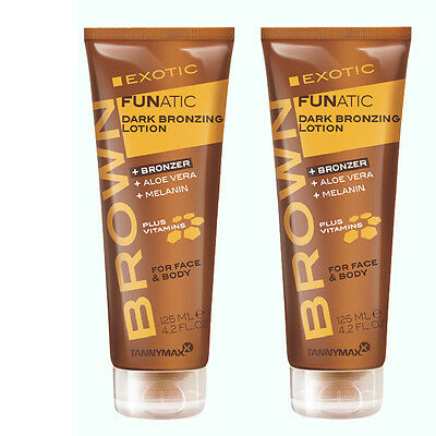 2x Tannymaxx Brown Exotic Funatic Dark Bronzing Lotion