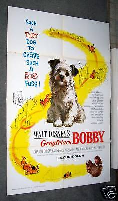 GREYFRIARS BOBBY original 1961  movie poster SKYE TERRIER one sheet DISNEY 27X41