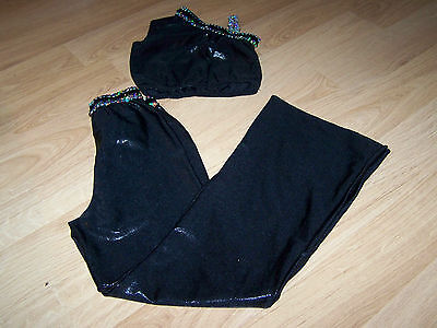 Child Size Large Libby Lu Black Silver Sequined Dance Costume Outfit Pants Top