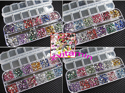 3000pcs Rhinestones Nail Art Case Assorted Mix Gem Designs Tips UV Gel Deco