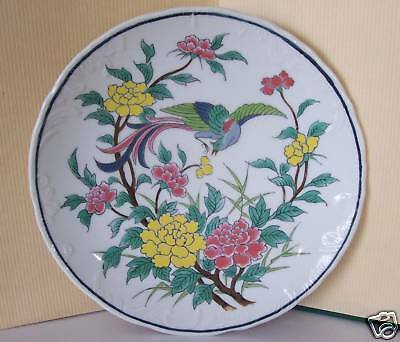 "Enesco 1970s Decorative 8-1/4"" Bird/Floral Hanging Wall Plate, Japan"
