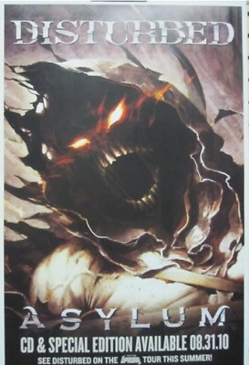 DISTURBED 2010 ASYLUM promotional poster ~NEW old stock & MINT condition~!
