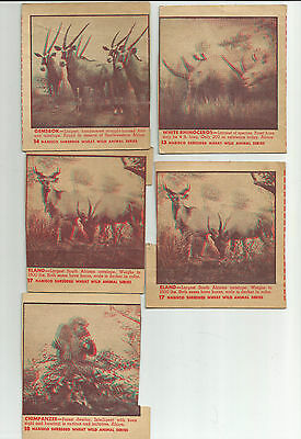 Old Nabisco Shredded Wheat Wild Animal Series 13, 14, 2 -17, 18  Note Creases