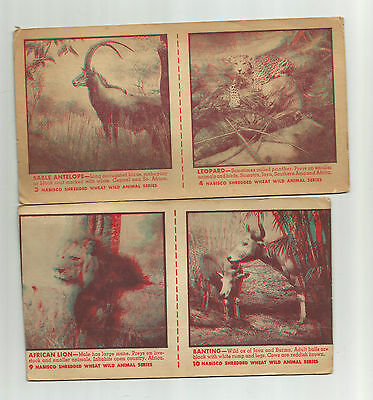 Old Nabisco Shredded Wheat Wild Animal Series 3, 4, 9, 10 Antelope Leopard Lion
