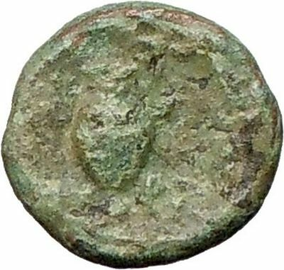 Myrina in Asia Minor 200BC  Ancient Greek Coin Helios Sun  God  Amphora  i27862