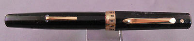 Wahl-Eversharp Black facetted Lever Fill Fountain Pen--working-fine point