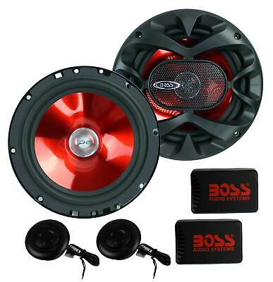 "2) BOSS CH6CK 6.5"" 350W Car 2 Way Component Car Audio Speakers System Red Stereo"