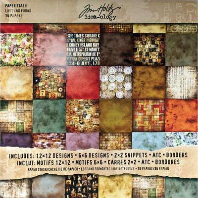 LOST & FOUND Idea-Ology Scrapbooking Stash Paper Pad 12x12 36 pgs by Tim Holtz