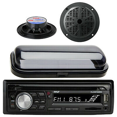 2013 Silver Marine Boat AM/FM Radio Stereo USB AUX Receiver W/Cover & 2 Speakers