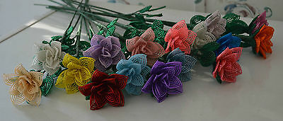 NEW Handmade French beaded flower rose YOU PICK COLOR