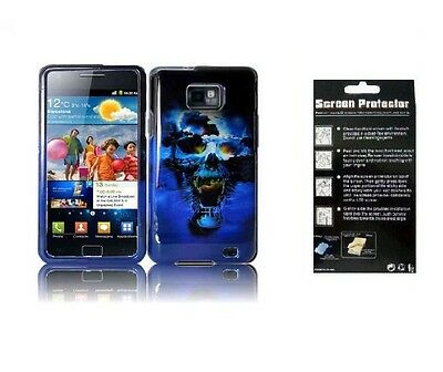 Screen Protector + Hr BlueSkull Cover Case for Samsung Galaxy S2 S959G SGH-S959G